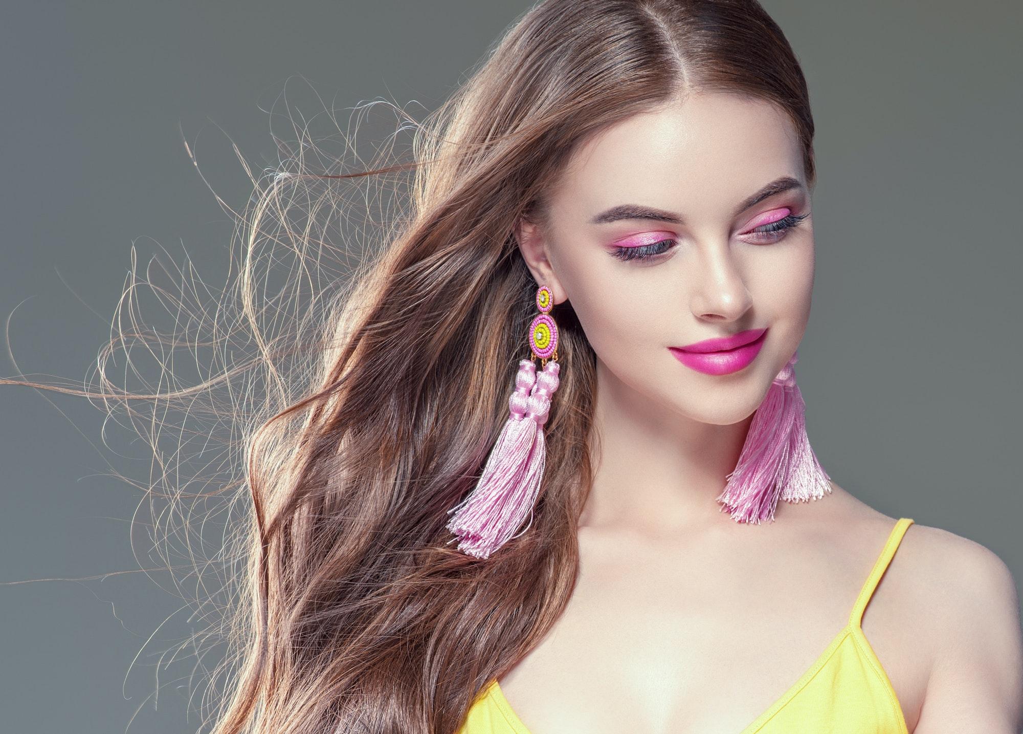 Female beauty portrait long hairstyle